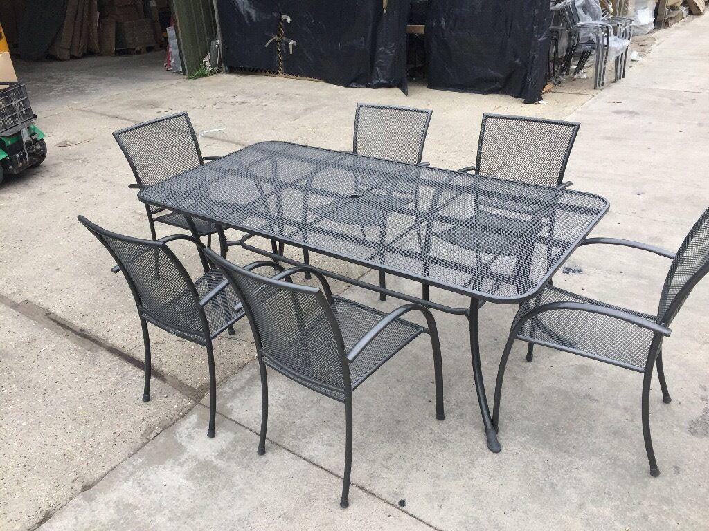 ex display mesh garden furniture 6 seater rectangular