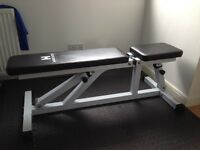 Hardcastle White Flat/Incline Adjustable Heavy Duty Weight Gym Bench