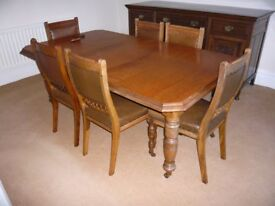 Old Oak Dining Table and Six Chairs