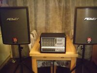 Complete PA System. comprising 800w Powered Mixer, Speakers, Stands & Cables