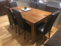 Contemporary mango wood table and 6 chairs