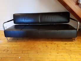Vitra Quality Leather 4 Seater Sofa - Mint Condition Designer Sofa - Black - Made In Switzerland