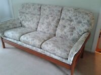 Cintique Wooden Frame Three Seater Settee