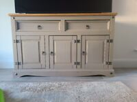 SOLD!! Grey & Pine Wood Sideboard