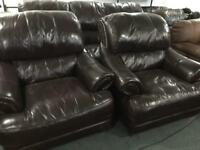 As new full leather Hyde 3 11 sofa set red brown oxblood colour