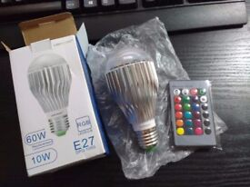 *NEW* 10W E27 RGB LED Bulb, Dimmable 16 Colour Choices, Remote Controller (included) *NEW*