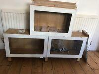 3 x Ikea Besta oak effect glass door wall cabinets. Glass shelves, wooden legs, dioder light kit.