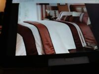 King size duvet cover and two pillowcases with two pairs of matching curtains