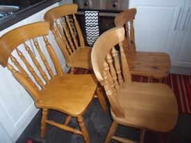 4 wooden kitchen chairs pine/beech ? collect Hastings /delivery