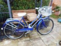 vintage ladies 21 inch frame blue marlboro bike with basket and lock