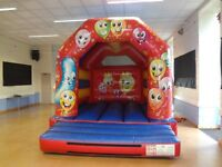 KLC HAPPY BALLOONS BOUNCY CASTLE +sunroof 11ftx14ftx10.8ft ex con incs Cert/fan/pegs - home/hire out
