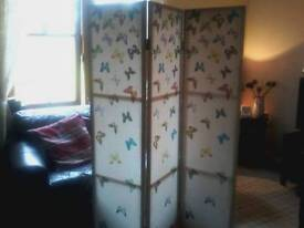 Folding 3 panel wooden room divider with butterfly print