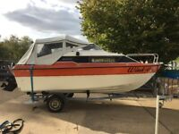 Sea Line 18 Weekender Cabin Cruser Boat Powerboat with 80hp Mercury Galvanised Trailer