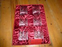 Set of 6 cut glass whisky glasses