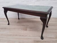 Leather Topped Coffee Table With Glass Insert (DELIVERY AVAILABLE FOR THIS ITEM OF FURNITURE)