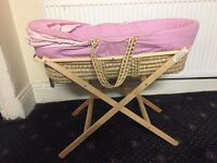 Baby basket with stand pink color