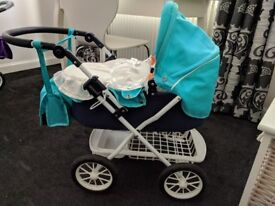 Blue Silver Cross Dolls Pram w/ covers and doll