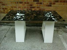 Lovely Ikea butterfly patterned glass top dining/ desk with white legs with shelves.