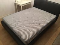 Black leather king size bed (Dreams) including mattress - £150