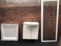 Glass Shower Door, Shower Base & Sink