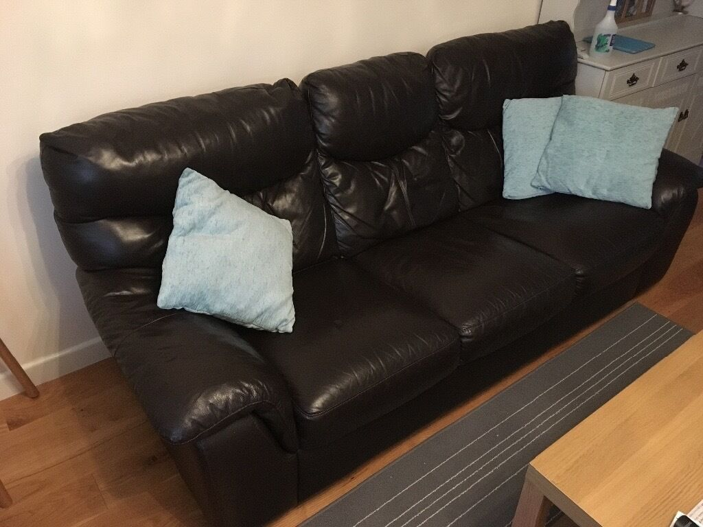 Dark Brown Leather 3 Seater Sofa