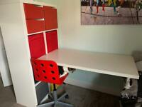 IKEA desk. Storage unit and chair £35