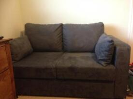 Bed settee grey blue suede effect very good condition