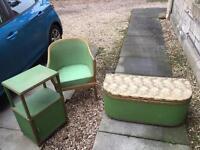 Original vintage retro c1950s Lloyd Loom bedroom set. Ottoman/blanket box, chair, bedside cabinet