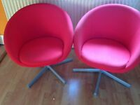 Red fabric swivel chairs with chromeleg