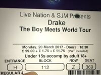 Drake Ticket For Sale O2 London 20th March Level 1 Seating