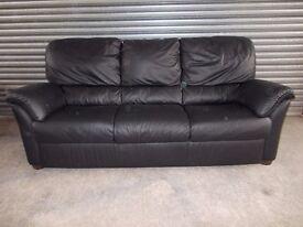 Genuine Natuzzi Italian Black Leather 3+2-seater Suite (Sofa)