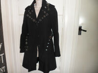 Karen Millen Black trench mac, stunning, with silver detail, size 10. Collection in Liverpool area