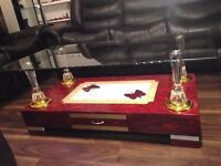 Brand New High Gloss Coffee Table with Wooden Base and Clear Glass top, High Quality Red