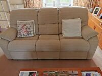 1 Sofa and matching 2 Electric Recliner Chairs in cream