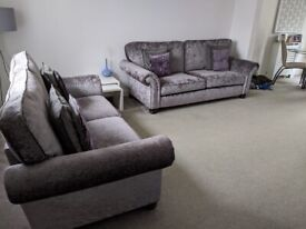 3 and 2 seater crushed velvet sofas