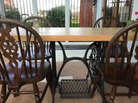 4 cottage type oak dinning chairs
