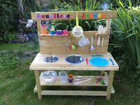 Garden mud kitchens. Hand made with treated wood. Great fun for the kids. Personalised with name.