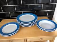 Blue plates middle plate and bowls