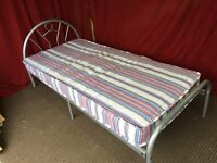 SILVER METAL SINGLE BED WITH MATTRESS ,CAN DELIVER