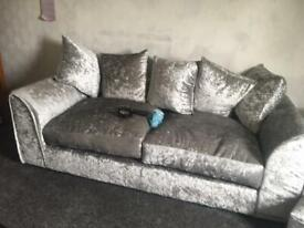 Crushed velvet 2 and 3 seater sofa