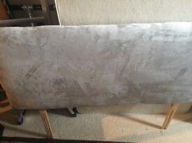 Four foot grey suede effect headboard