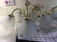 Gold coloured chandelier lights x2