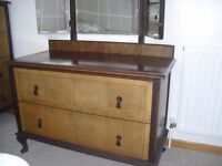 Art Deco style 1940's walnut burr dressing table