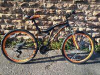 """New Boss Black Ice Mens Full Suspension Mountain Bike, 26"""" Wheel - Black/Orange RRP £ 295"""