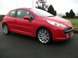 PEUGEOT 207 GT HDI 110PS WTH PAN. ROOF, LOW MILEAGE 73K FSH RECENT TURBO