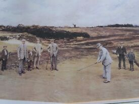 Coloured print of Golfing scene by Michael Brown