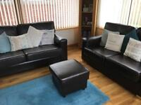 Sofa Set - Dark Brown Faux Leather