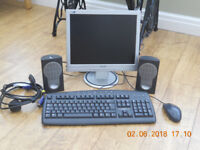 PHILIPS SILVER FRAME MONITOR with KEYBOARD, SPEAKERS and MOUSE