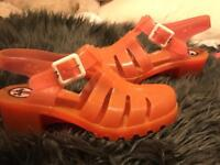 JuJu jelly shoes coral pink with silver sparkles
