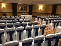 Wedding and Communion hire chair covers with sash £1..candy carts, donut walls and more